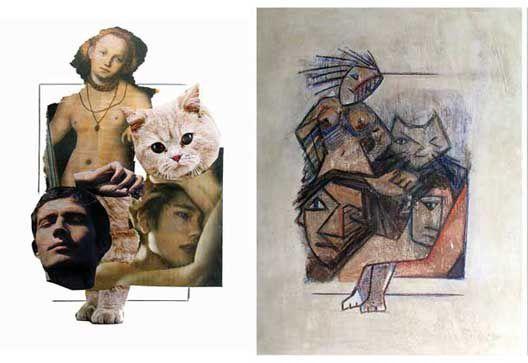 Nous avons commencé par des collages : images d'objets (l'empreinte l'humaine) images de la nature (ce qui existe sans nous) signes d'écriture (ça prend peu de place dans le monde matériel, et beaucoup dans celui de l'esprit).