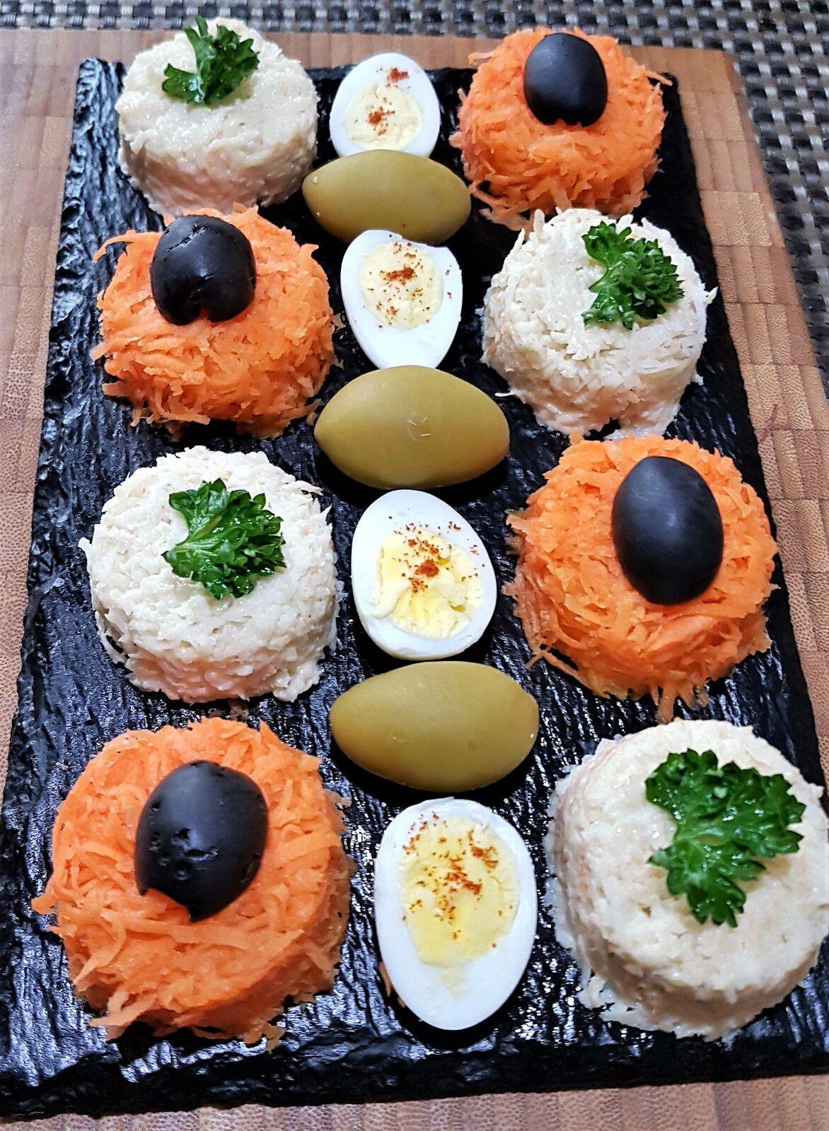 Ingrédients mis en oeuvre : carottes râpées, céleri rémoulade, oeufs de caille, olives noires et vertes, paprika, persil plat