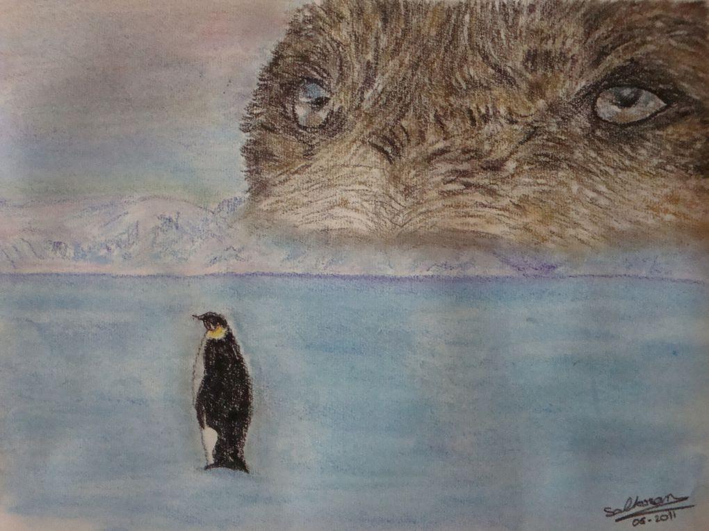 crayon, fusain et pastel sec pour paysages, animaux et personnages.