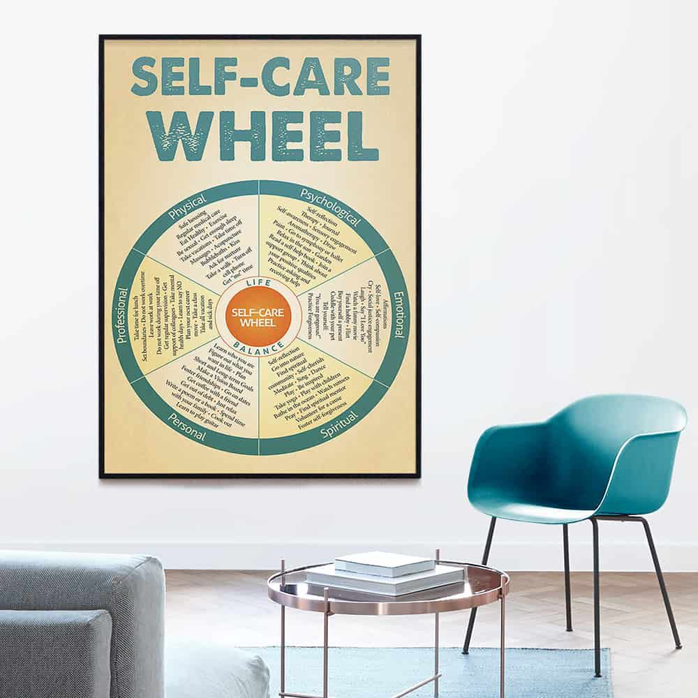 Social Worker Self-Care Wheel poster, canvas