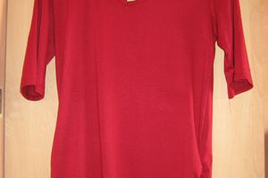 tee shirt tunique rouge customisé liberty et fleur