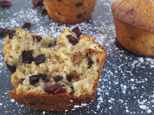 Muffins aux cranberries et pépites de chocolat noir