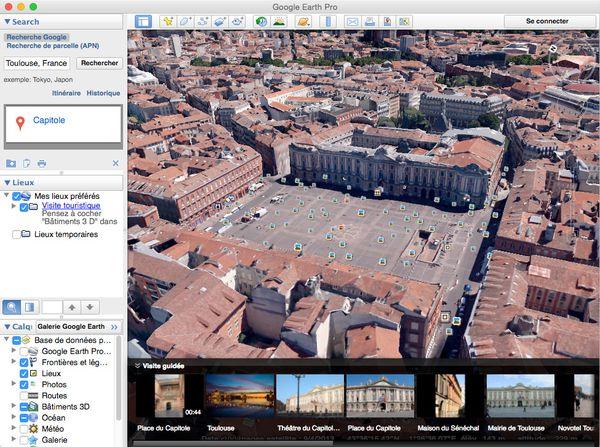 Place du Capitole à Toulouse vue depuis Google Earth Pro 7.1