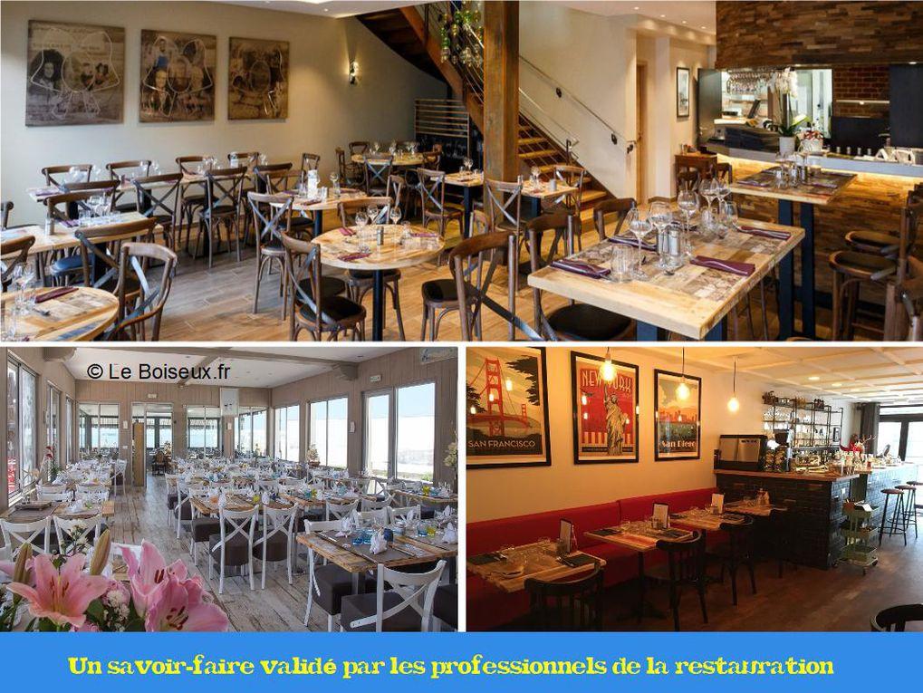 """Interlocuteur unique, Le Boiseux affine, avec vous, votre projet de tables de restaurant personnalisées, livrées sur site, gère l'intégralité du processus, en circuit court et sans intermédiaire, et vous garantit votre achat à vie, """"pièces et main d'œuvre""""."""