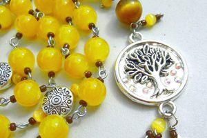 Diana Arduinna - Chapelet rosaire de méditation druidique aux perles ambrées