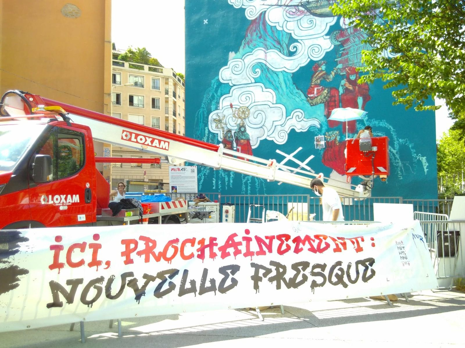 Fresque en cours.... - Croix-Rousse, mai-juin 2021