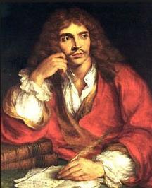 Corneille, plus austère, Molière plus jeune le visage appuyé sur sa main.
