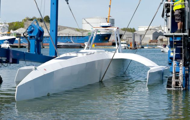 Lancement du trimaran autonome Mayflower