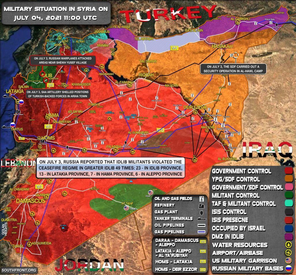 Situation militaire en Syrie au 4 juillet 2021 (Southfront)
