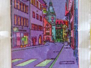 Zug ville au recto, son canton au verso en rouge, sachet de sucre en poudre suisse, Cl. Elisabeth Poulain