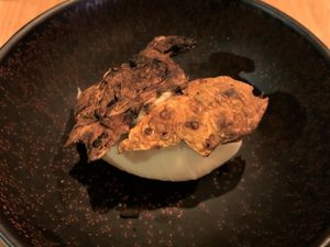 dessert noix vinaigre bière / glace céleri céleri grillé chocolat blanc wasabi