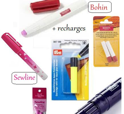 fournitures : stylo colle en couture