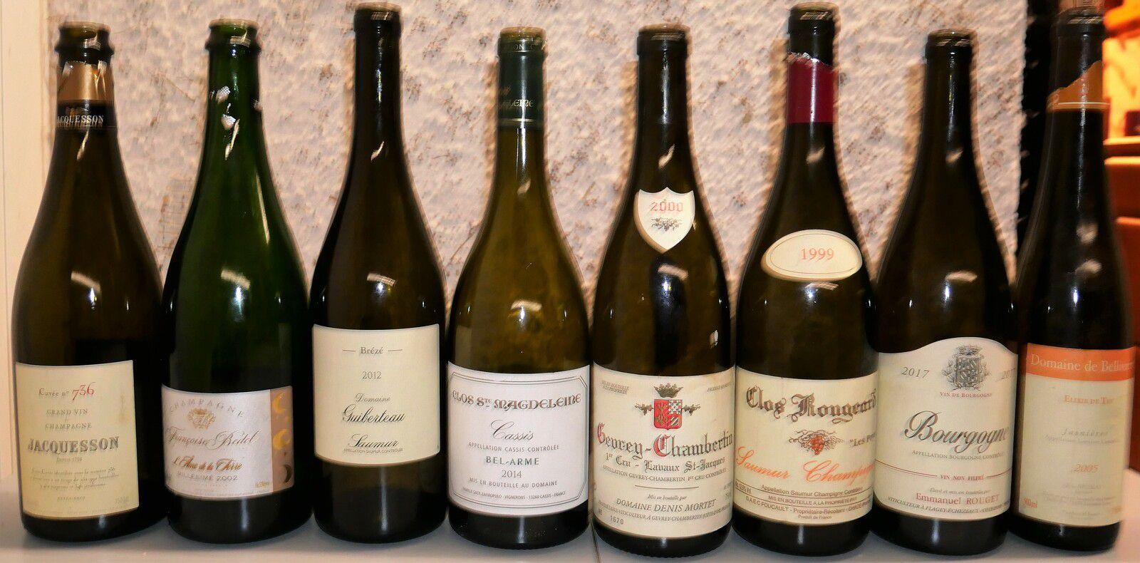 Repas d'été avec Jacquesson, Françoise Bedel, Guiberteau, Clos Sainte-Magdeleine, Dennis Mortet, Rouget, Bellivière