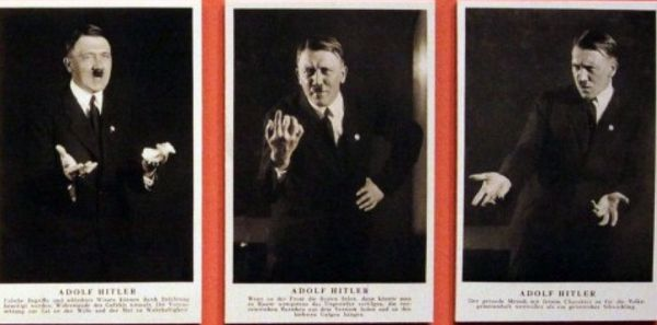 """Photos prises en 1927 juste après qu'Hitler a été proclamé """"Fuhrer"""" du parti nazi. Devant l'objectif de son photographes personnel, Heinrich Hoffmann, il peaufine la gestuelle de ces discours..."""