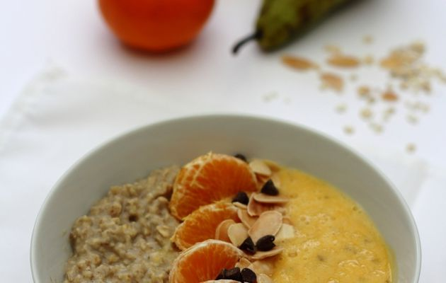 Smoothie-porridge bowl, poire & clémentine