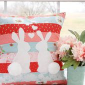 Spring Bunnies in Love Pillow -