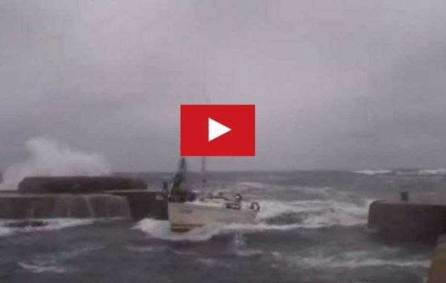 VIDEO - in the midst of a storm, a sailboat enters a marina... surfing!