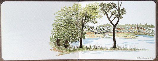 Encre de Chine et aquarelle sur carnet aquarelle - Mai 2020