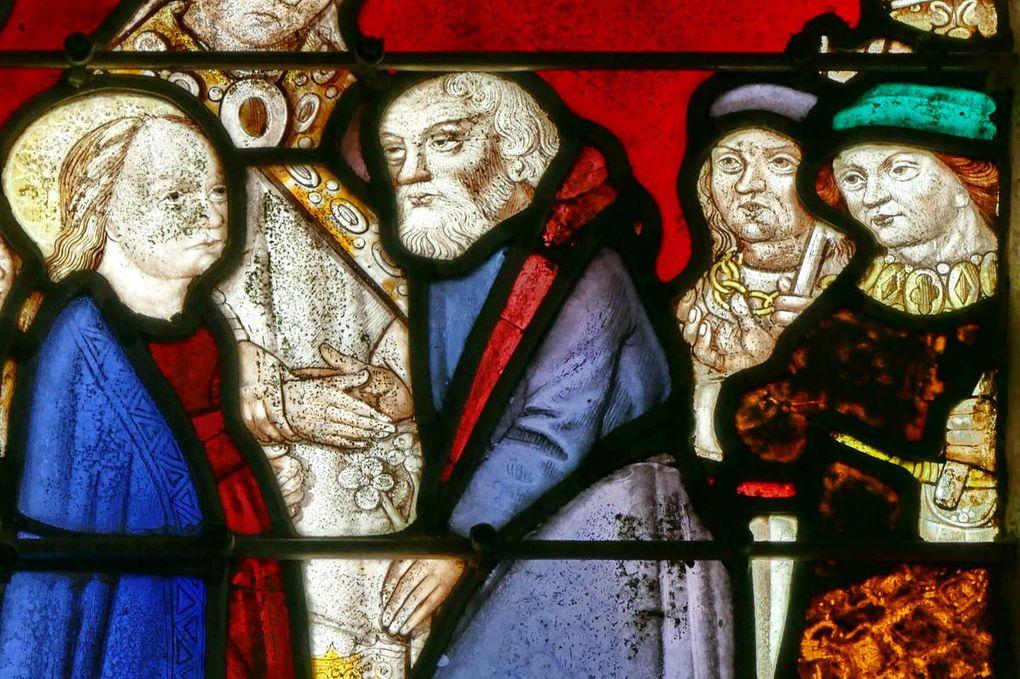 Mariage de la Vierge (détail),  baie axiale, église de Brennilis. Photographie lavieb-aile.