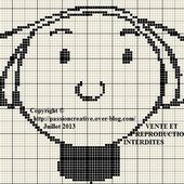 Grille gratuite point de croix : Bécassine portrait monochrome - Le blog de Isabelle