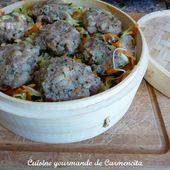Boulettes vapeur porc et crevettes sauce aigre douce - Cuisine gourmande de Carmencita