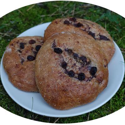Briochette à la farine semi-complète, crème pâtissière au cacao & raisins secs