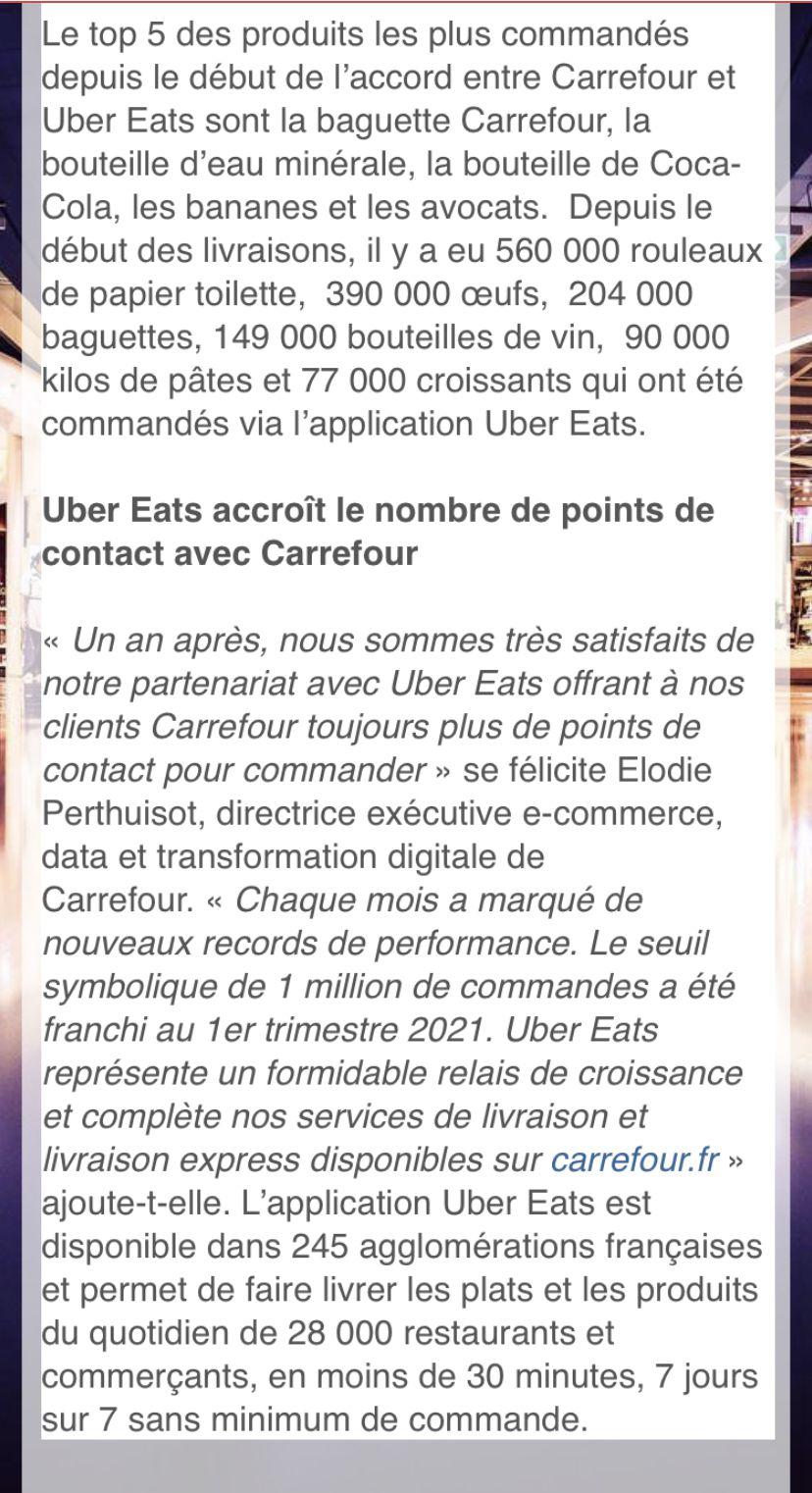 Carrefour-Uber Eats :le partenariat s'accélère avec un service de livraison entre 10-20 minutes
