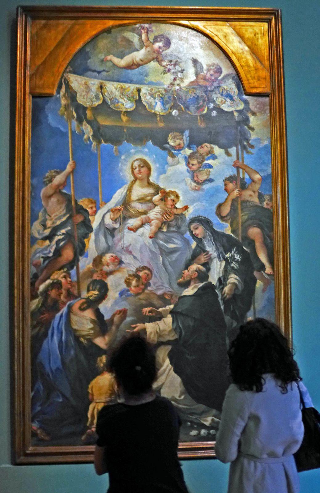 Madone au rosaire (ou au baldaquin) (1686), huile sur toile. Naples, museo di Capodimonte.