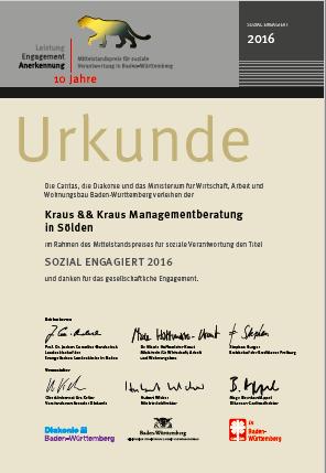 """""""Sozial Engagiert 2016"""" verliehen durch den Mittelstandspreis für soziale Verantwortung Baden Württemberg"""