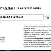 Fiche recette cookeo : riz au lait à la vanille |