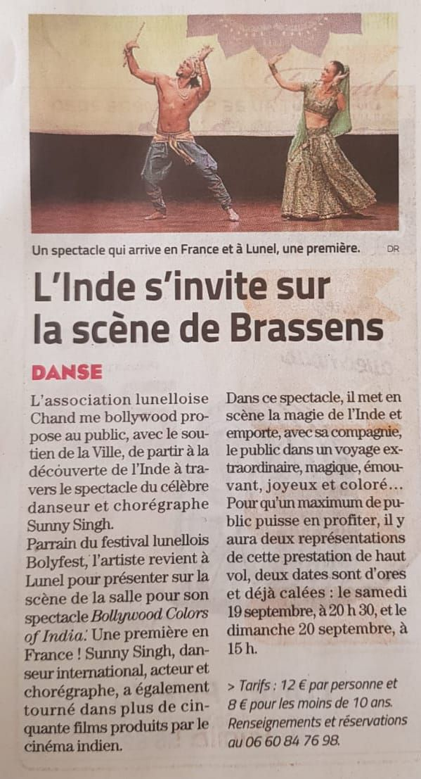 "Lunel : "" Bollywood Colors Of India "", deux spectacles à découvrir, en septembre"