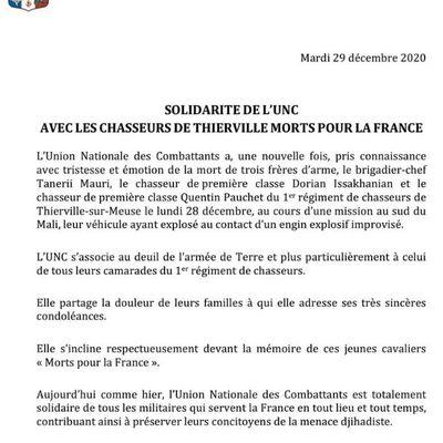 Solidarité de l'UNC avec les Chasseurs de Thierville Morts pour la France