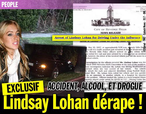 EXCLUSIF / Accident, alcool, et drogue : Lindsay Lohan dérape !