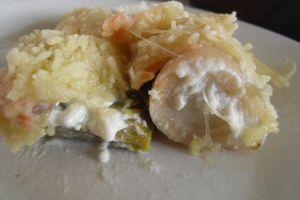 Crumble de poireau et saumon