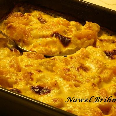 Gratin of butternut squash with Parmesan and nutmeg