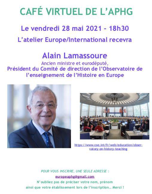 Un café Europe de l'APHG le 28 mai avec Alain Lamassoure