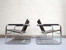 Paire fauteuil breuer marcel loft design cuir chair style années 60 50 tube d'acier chromés designer moderniste bauhaus mies van der rohe industriel
