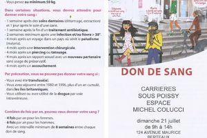 #169 - Don de sang à Carrières-sous-Poissy - Espace Michel COLUCCI le dimanche 21 juillet de 9h00 à 14h00