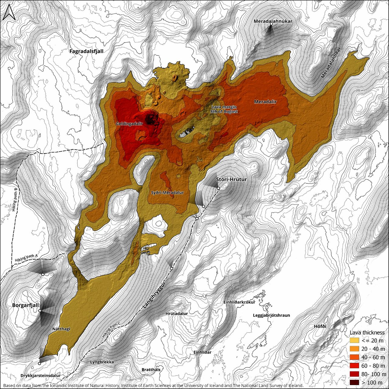 Fagradalsfjall - thickness of the lava and position of the webcams - Doc. Institute of Natural History & al.
