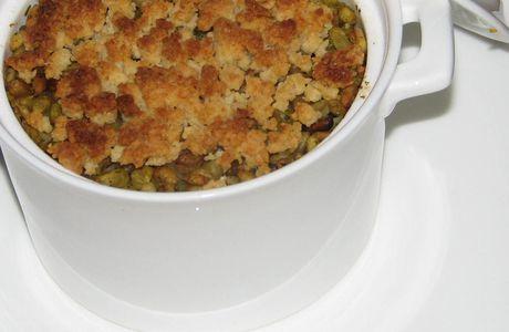 Crumble d'Ebly «Blé à poêler» et cabillaud aux légumes