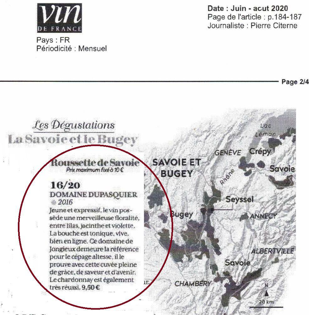 Fiche Technique Roussette de Savoie Altesse 2016