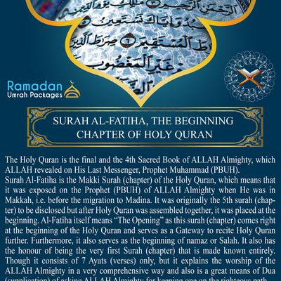 SURAH AL-FATIHA, THE BEGINNING CHAPTER OF HOLY QURAN