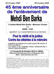 Intervention du fils de Mehdi Ben Barka lors du rassemblement du 29 octobre 2011