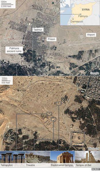 Los extremistas del autodenominado Estado Islámico dinamitaron el extraordinario templo de Bel. Imágenes satelitales de la ONU confirmaron el lunes la destrucción del domingo del santuario más importante del la antigua ciudad siria de Palmira