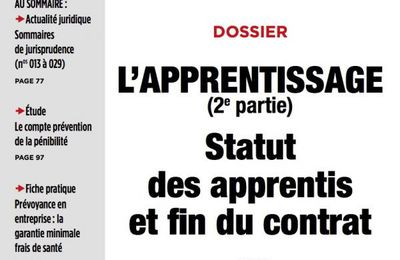 L'apprentissage 2e partie – Statut des apprentis et fin du contrat