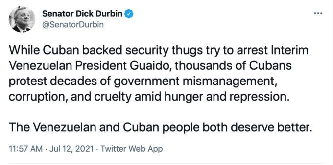 Sénateur Dick Durbin @SenatorDurbin Tandis que des voyous épaulés par des agents de sécurité cubains essayent d'arrêter le président vénézuélien intérimaire Guaido, des milliers de Cubains protestent contre des décennies de mauvais gouvernement, de corruption et de cruauté, face à la faim et à la répression.