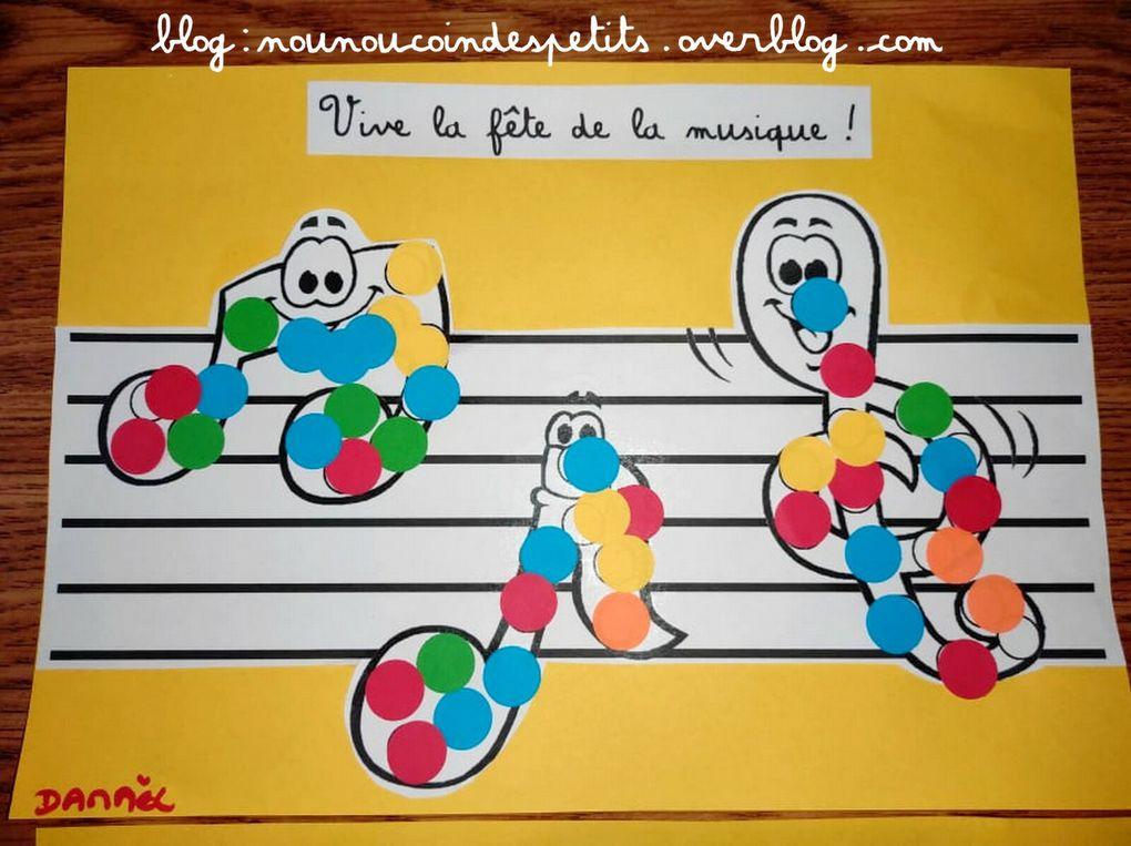 .. Bricolage enfant la fête de la Musique gommettes ..