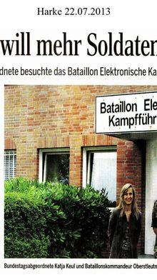 Harke 22.7.13 -- Grüne MdB zu Bundeswehr in aller Welt: gesteigerter Bedarf muss zu angepasstem Personalansatz