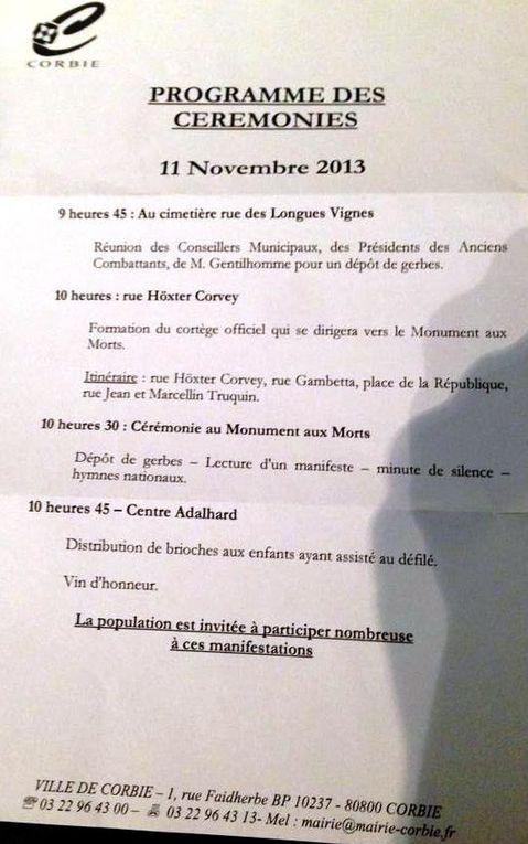 Programme des cérémonies du 11 novembre 2013 à Corbie
