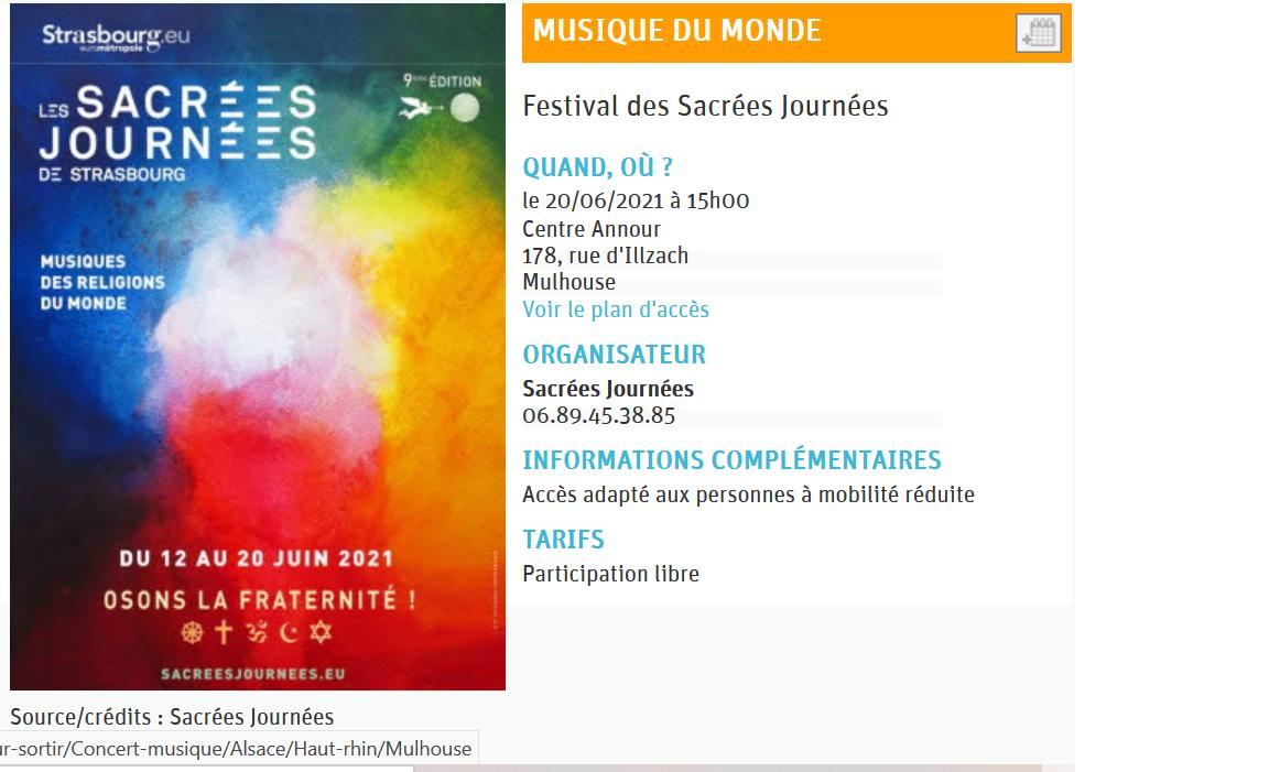 Dans le cadre des Sacrées journées, concert inédit le 20 juin 2021 au centre An-Nour à MULHOUSE